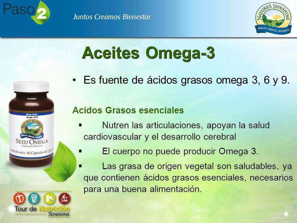 Aceites Omega-3 Es fuente de ácidos grasos omega 3, 6 y 9. Acidos Grasos esenciales Nutren las articulaciones, apoyan la salud cardiovascular y el des