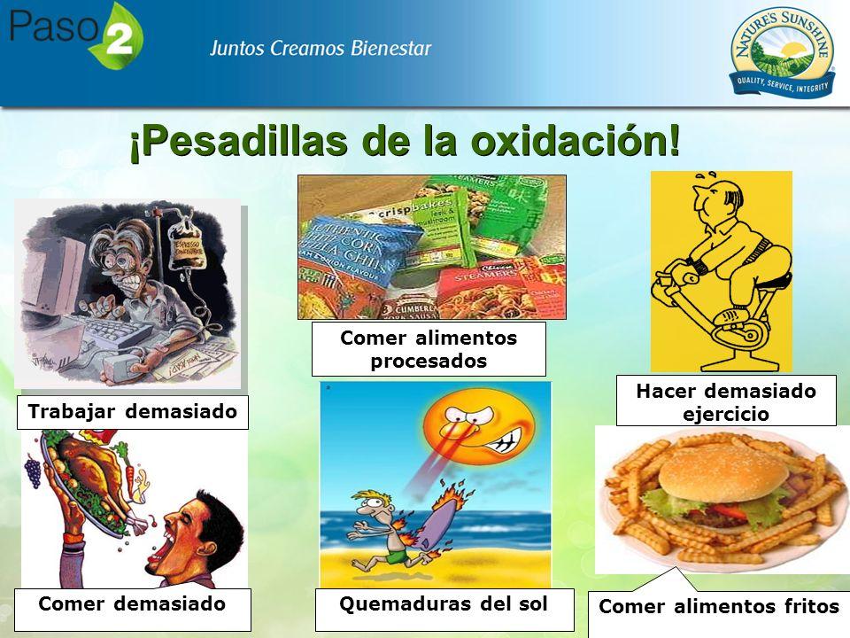 ¡Pesadillas de la oxidación! Comer alimentos fritos Comer demasiado Trabajar demasiado Quemaduras del sol Comer alimentos procesados Hacer demasiado e