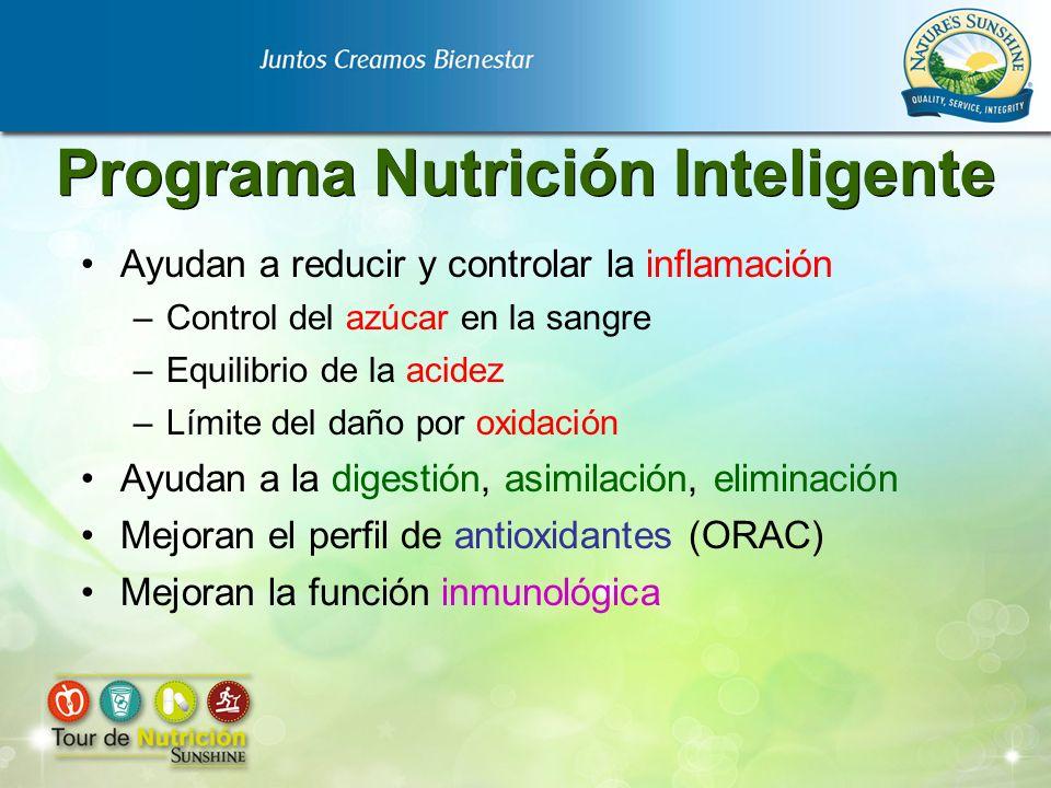 Programa Nutrición Inteligente Ayudan a reducir y controlar la inflamación –Control del azúcar en la sangre –Equilibrio de la acidez –Límite del daño