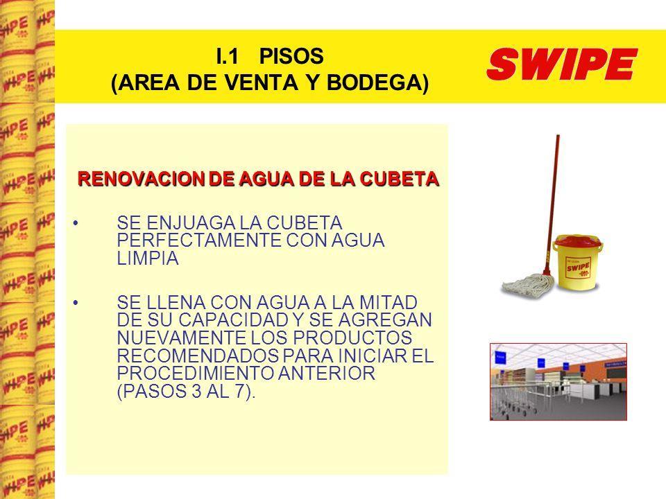 I.1 PISOS (AREA DE VENTA Y BODEGA) RENOVACION DE AGUA DE LA CUBETA SE ENJUAGA LA CUBETA PERFECTAMENTE CON AGUA LIMPIA SE LLENA CON AGUA A LA MITAD DE