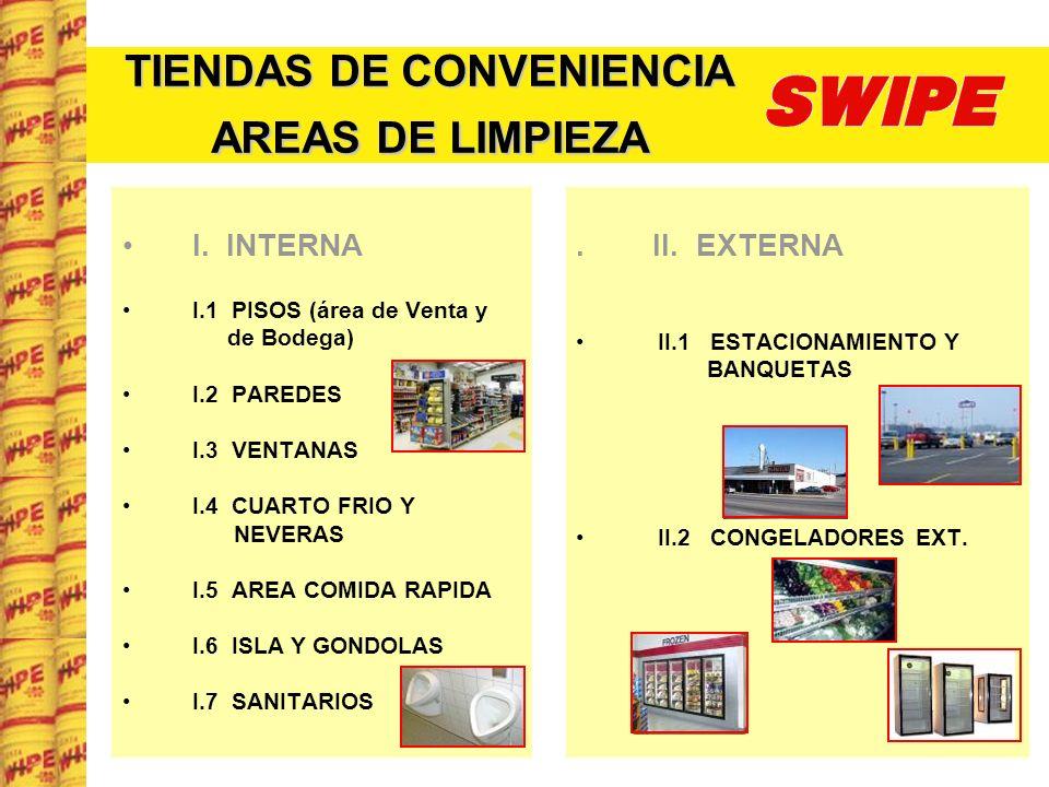 TIENDAS DE CONVENIENCIA AREAS DE LIMPIEZA I. INTERNA I.1 PISOS (área de Venta y de Bodega) I.2 PAREDES I.3 VENTANAS I.4 CUARTO FRIO Y NEVERAS I.5 AREA