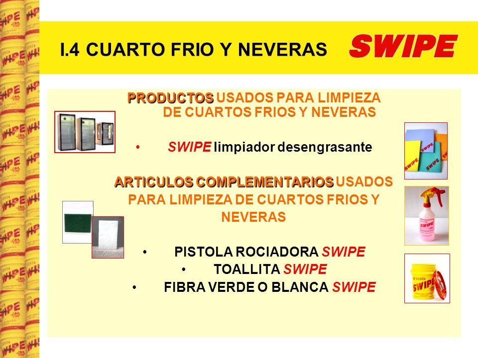 I.4 CUARTO FRIO Y NEVERAS PRODUCTOS PRODUCTOS USADOS PARA LIMPIEZA DE CUARTOS FRIOS Y NEVERAS SWIPE limpiador desengrasante ARTICULOS COMPLEMENTARIOS