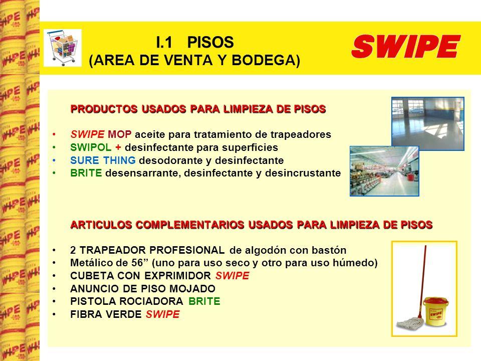I.1 PISOS (AREA DE VENTA Y BODEGA) PRODUCTOS USADOS PARA LIMPIEZA DE PISOS SWIPE MOP aceite para tratamiento de trapeadores SWIPOL + desinfectante par