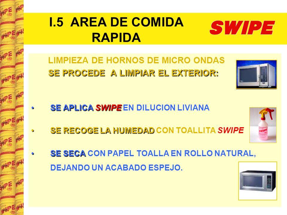 I.5 AREA DE COMIDA RAPIDA LIMPIEZA DE HORNOS DE MICRO ONDAS SE PROCEDE A LIMPIAR EL EXTERIOR: SE APLICASWIPESE APLICA SWIPE EN DILUCION LIVIANA SE REC
