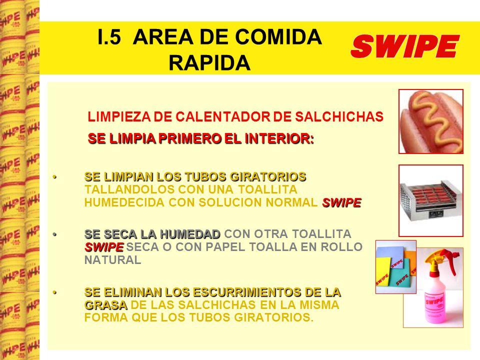 I.5 AREA DE COMIDA RAPIDA LIMPIEZA DE CALENTADOR DE SALCHICHAS SE LIMPIA PRIMERO EL INTERIOR: SE LIMPIA PRIMERO EL INTERIOR: SE LIMPIAN LOS TUBOS GIRA