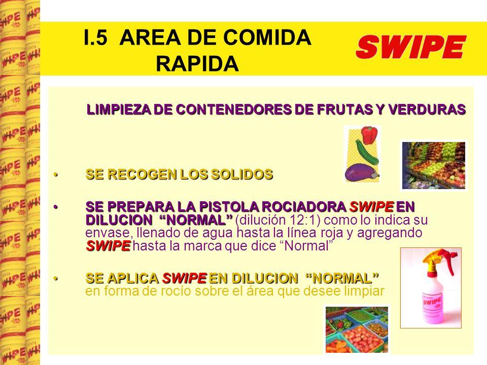 I.5 AREA DE COMIDA RAPIDA LIMPIEZA DE CONTENEDORES DE FRUTAS Y VERDURAS SE RECOGEN LOS SOLIDOSSE RECOGEN LOS SOLIDOS SE PREPARA LA PISTOLA ROCIADORA S