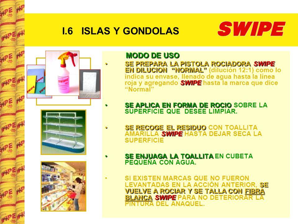 I.6 ISLAS Y GONDOLAS MODO DE USO SE PREPARA LA PISTOLA ROCIADORA SWIPE EN DILUCION NORMAL SWIPESE PREPARA LA PISTOLA ROCIADORA SWIPE EN DILUCION NORMA
