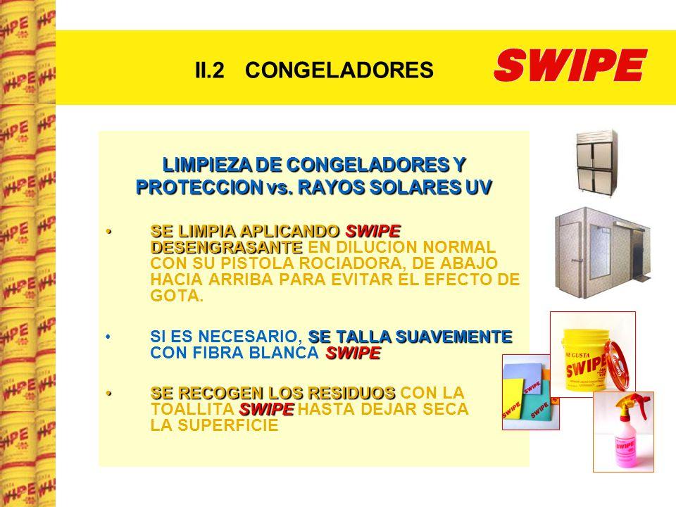 II.2 CONGELADORES LIMPIEZA DE CONGELADORES Y PROTECCION vs. RAYOS SOLARES UV SE LIMPIA APLICANDO SWIPE DESENGRASANTESE LIMPIA APLICANDO SWIPE DESENGRA