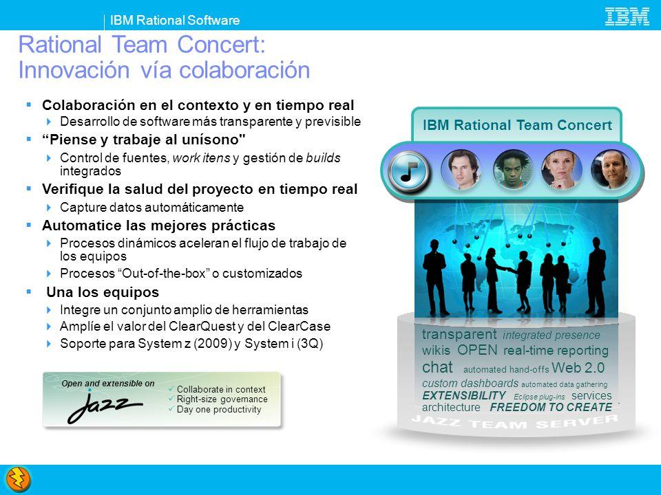 IBM Rational Software Rational Team Concert: Innovación vía colaboración Colaboración en el contexto y en tiempo real Desarrollo de software más trans
