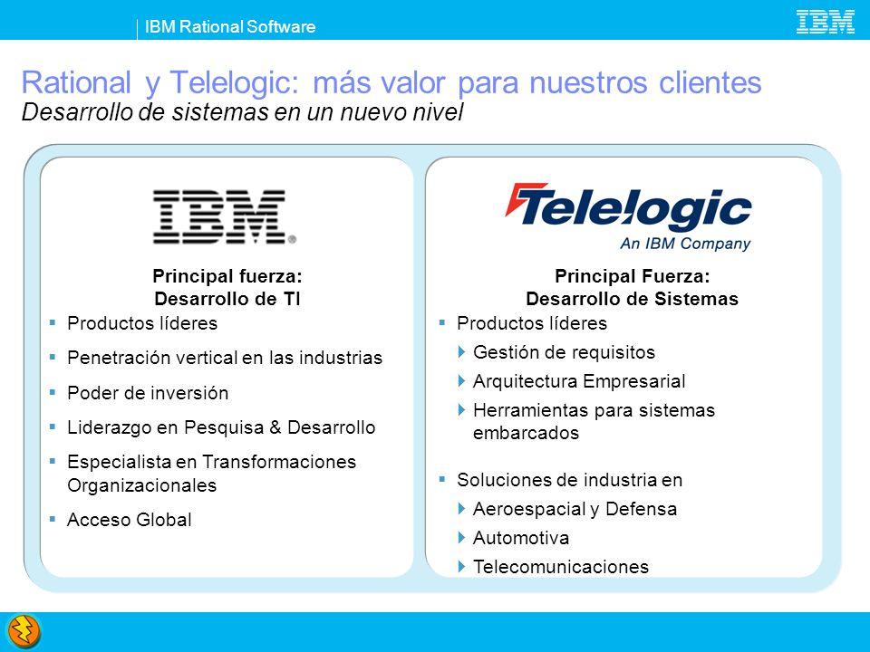 IBM Rational Software Rational y Telelogic: más valor para nuestros clientes Desarrollo de sistemas en un nuevo nivel Principal Fuerza: Desarrollo de