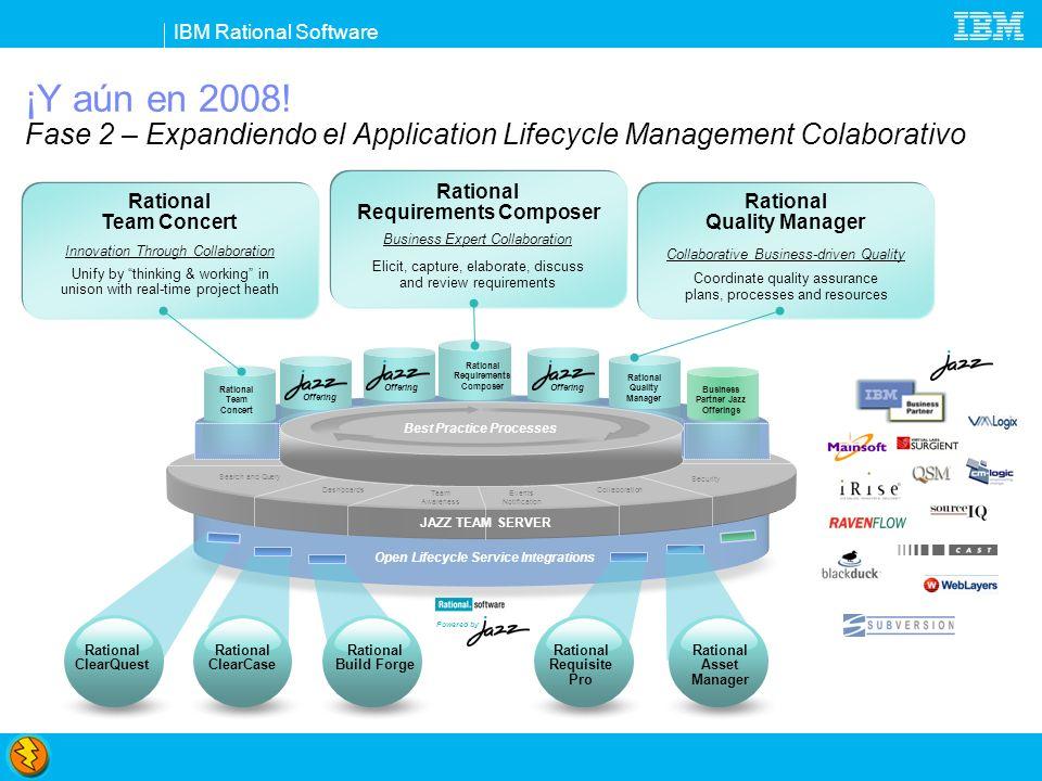 IBM Rational Software Rational Team Concert: Innovación vía colaboración Colaboración en el contexto y en tiempo real Desarrollo de software más transparente y previsible Piense y trabaje al unísono Control de fuentes, work itens y gestión de builds integrados Verifique la salud del proyecto en tiempo real Capture datos automáticamente Automatice las mejores prácticas Procesos dinámicos aceleran el flujo de trabajo de los equipos Procesos Out-of-the-box o customizados Una los equipos Integre un conjunto amplio de herramientas Amplíe el valor del ClearQuest y del ClearCase Soporte para System z (2009) y System i (3Q) IBM Rational Team Concert transparent integrated presence wikis OPEN real-time reporting chat automated hand-offs Web 2.0 custom dashboards automated data gathering EXTENSIBILITY Eclipse plug-ins services architecture FREEDOM TO CREATE Open and extensible on Collaborate in context Right-size governance Day one productivity