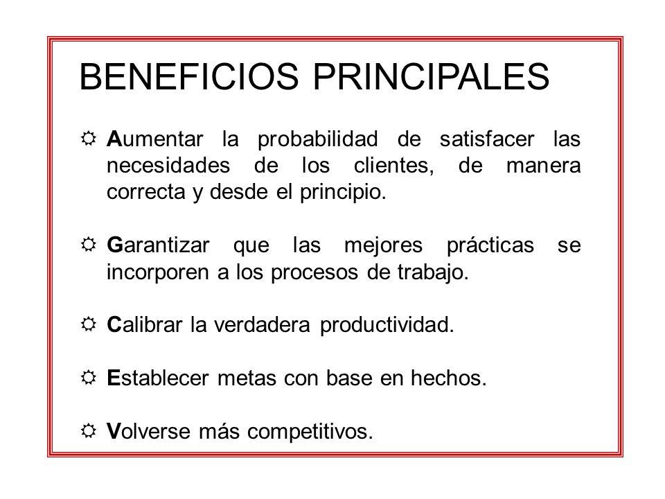 BENEFICIOS PRINCIPALES RAumentar la probabilidad de satisfacer las necesidades de los clientes, de manera correcta y desde el principio. RGarantizar q