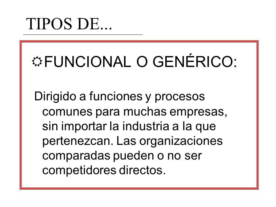RFUNCIONAL O GENÉRICO: Dirigido a funciones y procesos comunes para muchas empresas, sin importar la industria a la que pertenezcan. Las organizacione