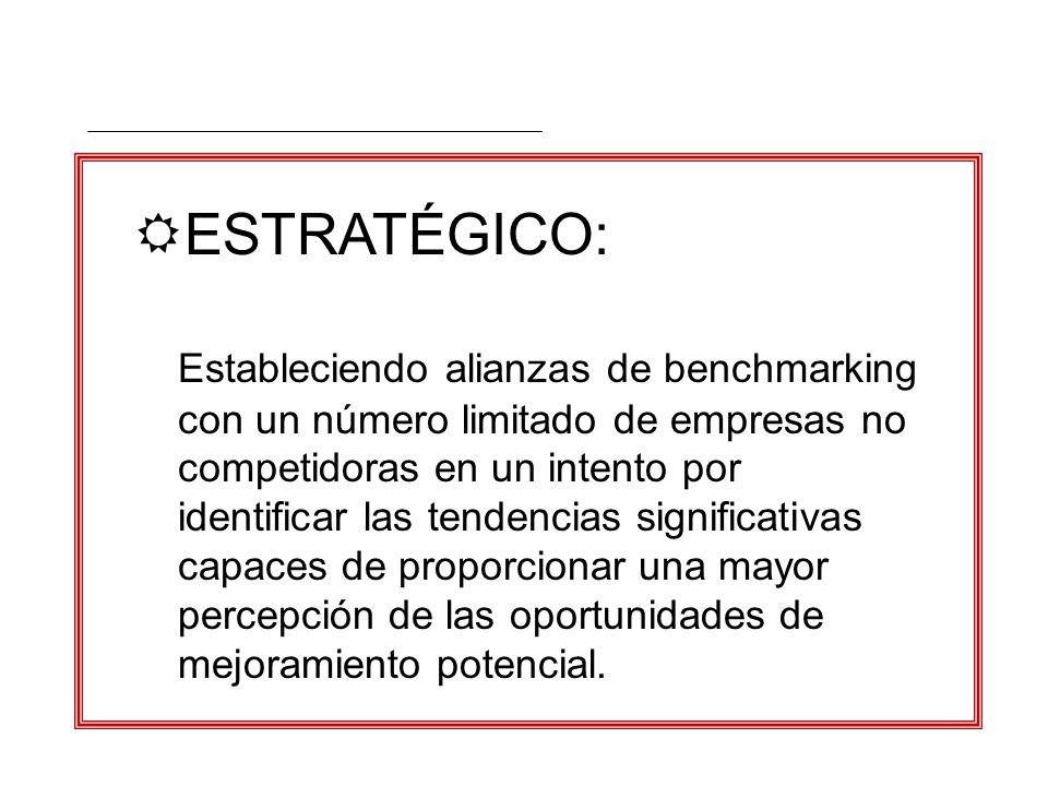 RESTRATÉGICO: Estableciendo alianzas de benchmarking con un número limitado de empresas no competidoras en un intento por identificar las tendencias s