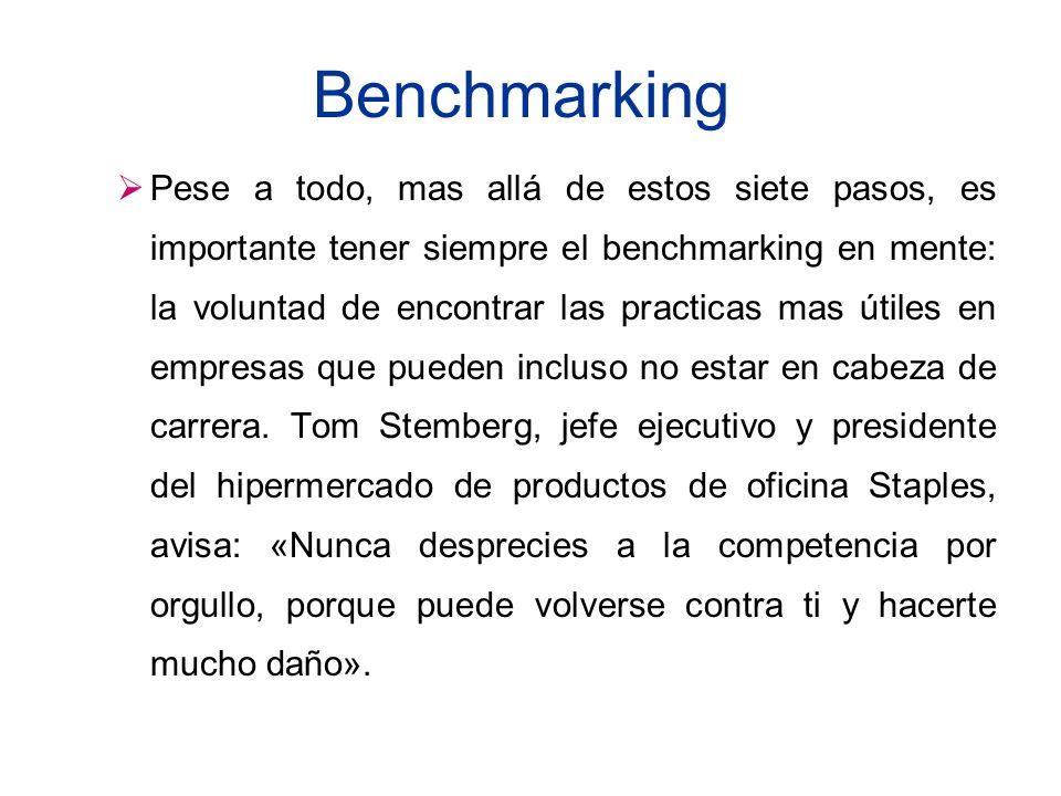 Benchmarking Pese a todo, mas allá de estos siete pasos, es importante tener siempre el benchmarking en mente: la voluntad de encontrar las practicas