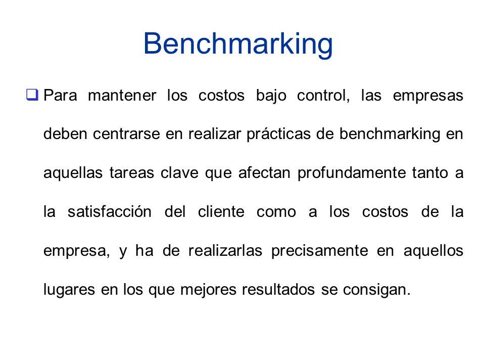 Benchmarking Para mantener los costos bajo control, las empresas deben centrarse en realizar prácticas de benchmarking en aquellas tareas clave que af