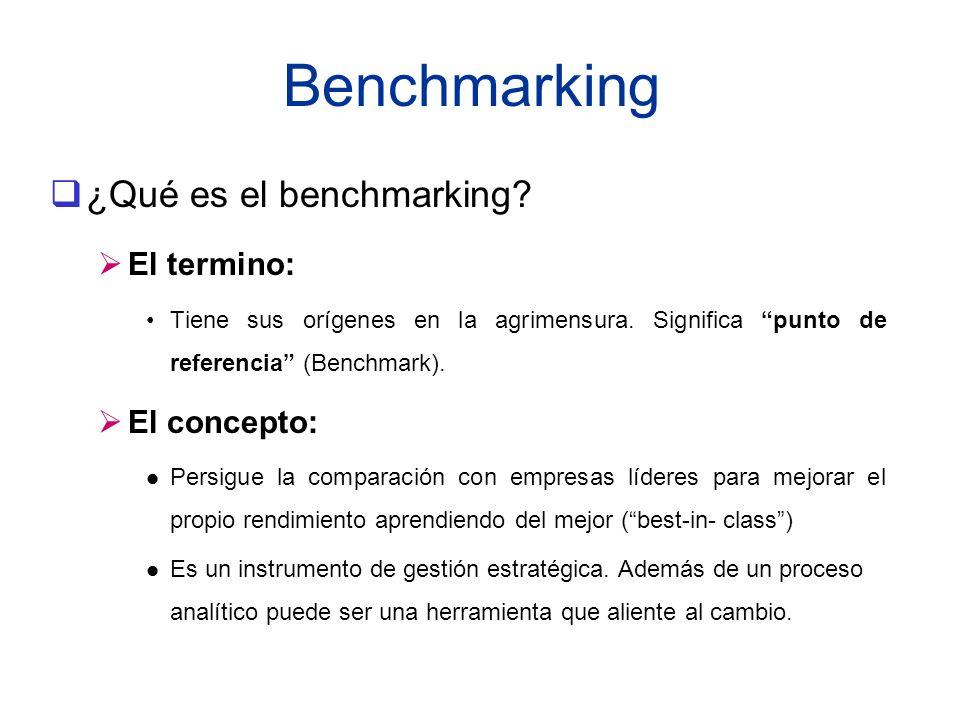 Benchmarking ¿Qué es el benchmarking? El termino: Tiene sus orígenes en la agrimensura. Significa punto de referencia (Benchmark). El concepto: l Pers
