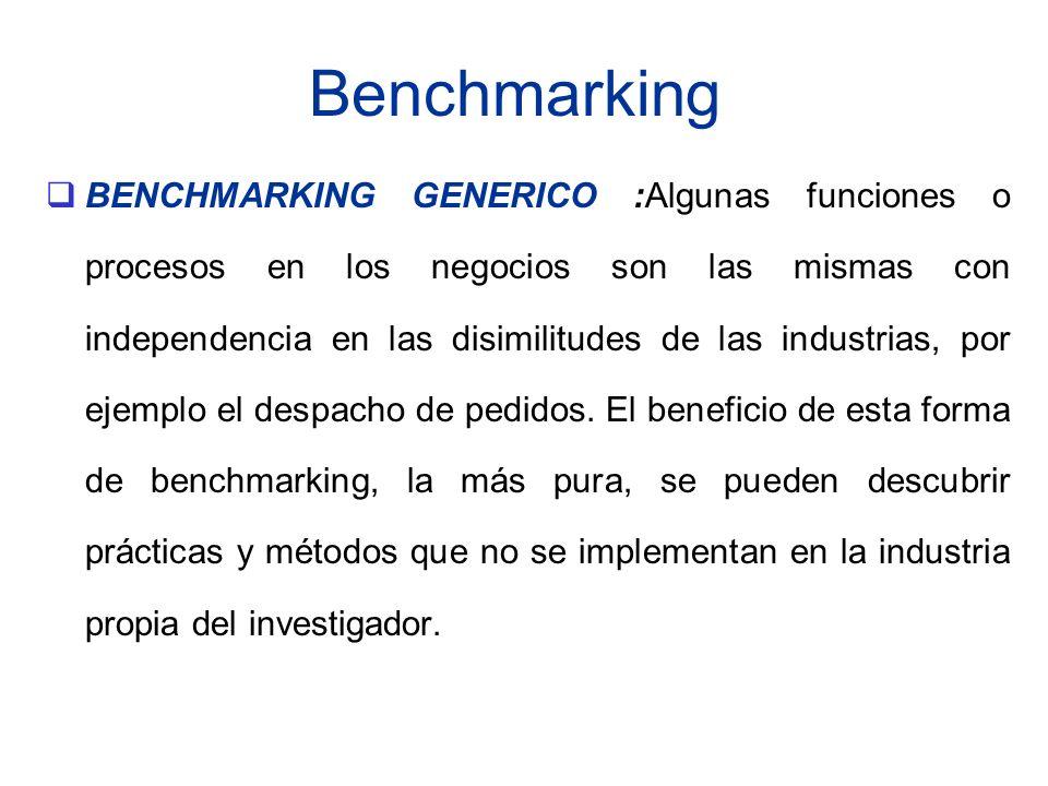 Benchmarking BENCHMARKING GENERICO :Algunas funciones o procesos en los negocios son las mismas con independencia en las disimilitudes de las industri