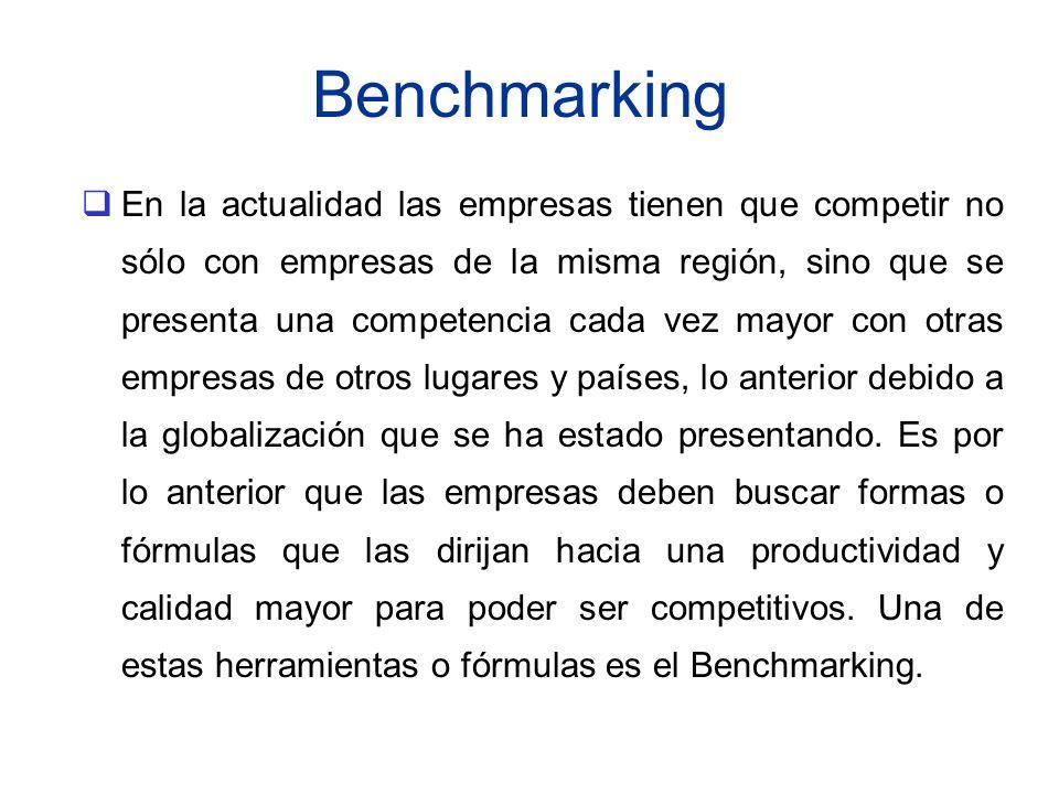 Benchmarking En la actualidad las empresas tienen que competir no sólo con empresas de la misma región, sino que se presenta una competencia cada vez
