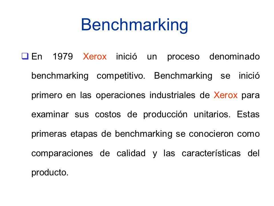 Benchmarking En 1979 Xerox inició un proceso denominado benchmarking competitivo. Benchmarking se inició primero en las operaciones industriales de Xe