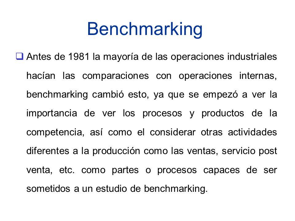 Benchmarking Antes de 1981 la mayoría de las operaciones industriales hacían las comparaciones con operaciones internas, benchmarking cambió esto, ya