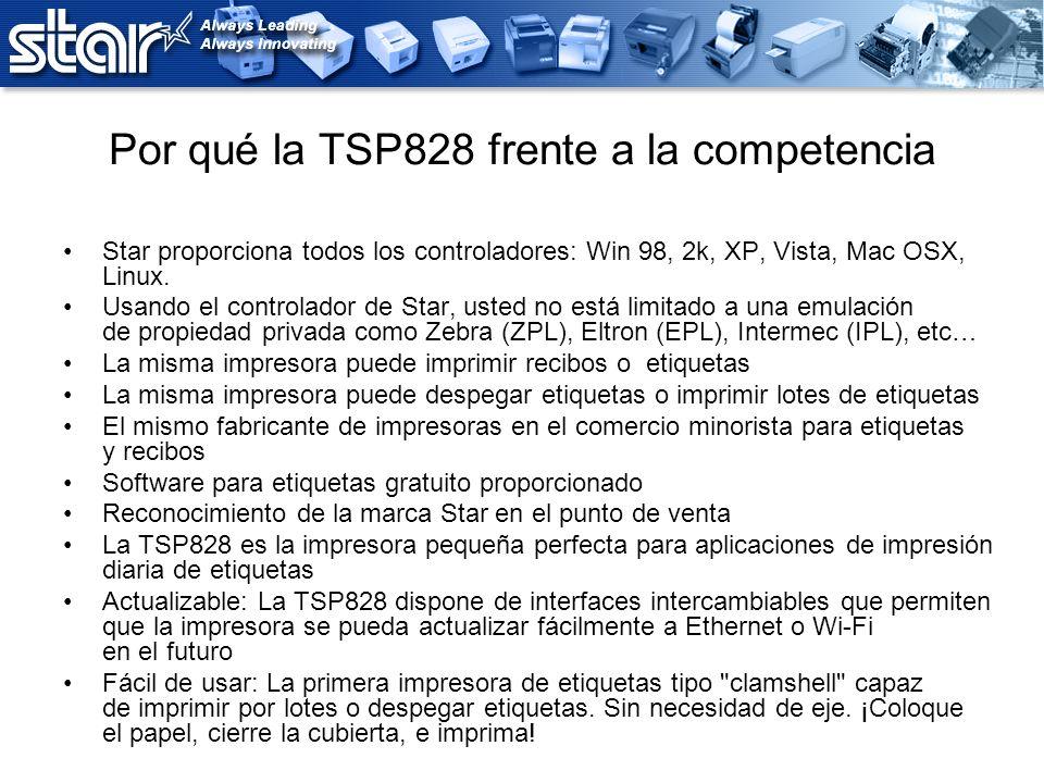 Por qué la TSP828 frente a la competencia Star proporciona todos los controladores: Win 98, 2k, XP, Vista, Mac OSX, Linux. Usando el controlador de St