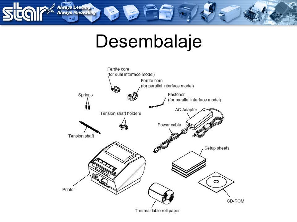 Características Detección de marcas negras (sensor reflexivo) Detección de espacios (sensor transmisivo) Modo despegador o no despegador Rollo de hasta 4.5 de diámetro CD con controlador de instalación automática incluido CD con el software para etiquetas Bartender® incluido Interfaz doble USB y serial (estándar) Ancho ajustable para las etiquetas de 45 mm a 112 mm