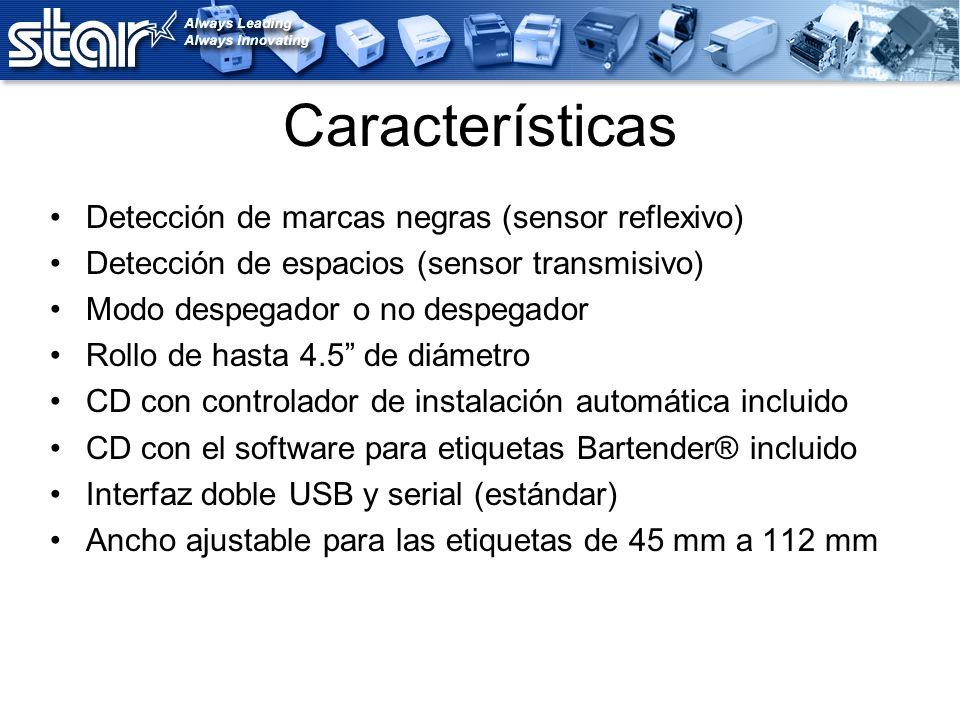 Características Detección de marcas negras (sensor reflexivo) Detección de espacios (sensor transmisivo) Modo despegador o no despegador Rollo de hast