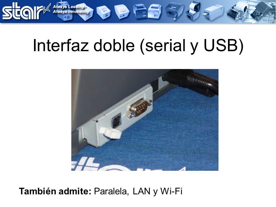 Interfaz doble (serial y USB) También admite: Paralela, LAN y Wi-Fi