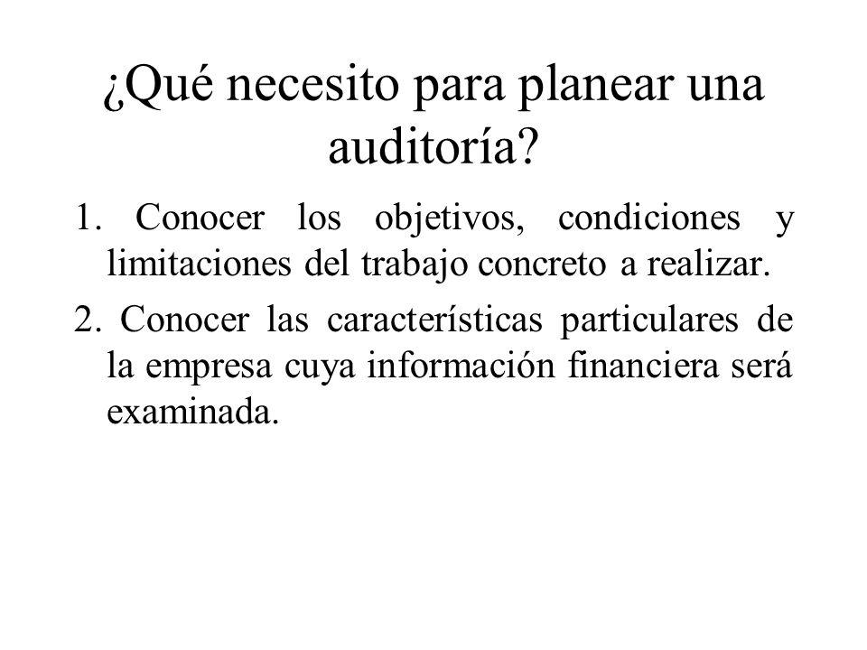 ¿Qué necesito para planear una auditoría? 1. Conocer los objetivos, condiciones y limitaciones del trabajo concreto a realizar. 2. Conocer las caracte