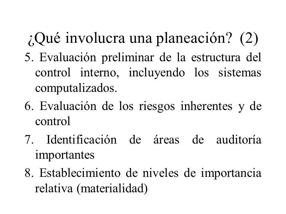 ¿Qué involucra una planeación? (2) 5. Evaluación preliminar de la estructura del control interno, incluyendo los sistemas computalizados. 6. Evaluació