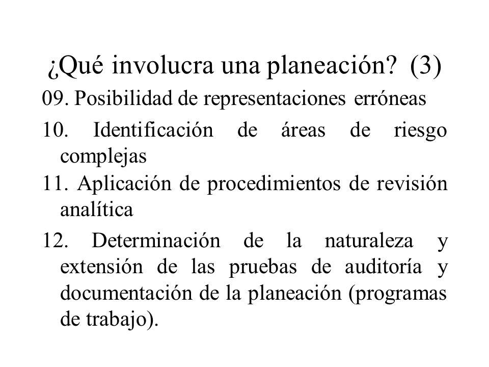 ¿Qué involucra una planeación? (3) 09. Posibilidad de representaciones erróneas 10. Identificación de áreas de riesgo complejas 11. Aplicación de proc