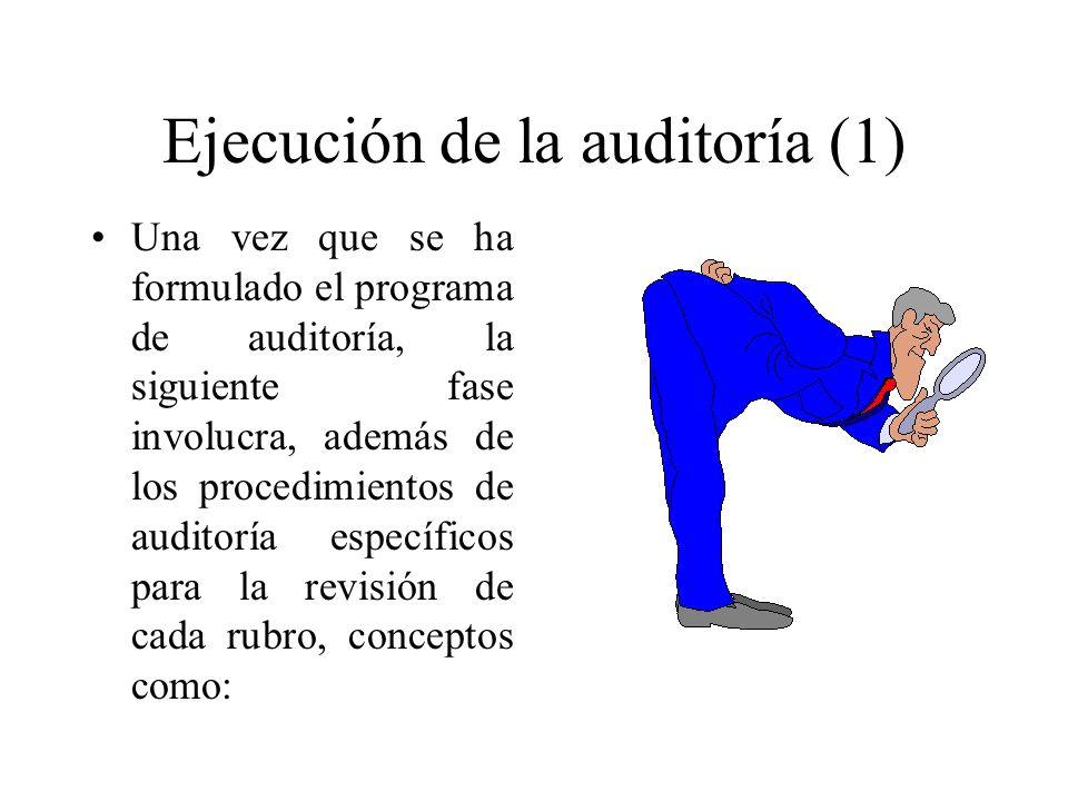 Ejecución de la auditoría (2) Documentación de la auditoría Evidencia comprobatoria Control de calidad La responsabilidad del auditor en el descubrimiento de errores e irregularidades Utilización del trabajo de un especialista