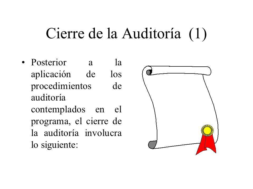 Cierre de la Auditoría (1) Posterior a la aplicación de los procedimientos de auditoría contemplados en el programa, el cierre de la auditoría involuc