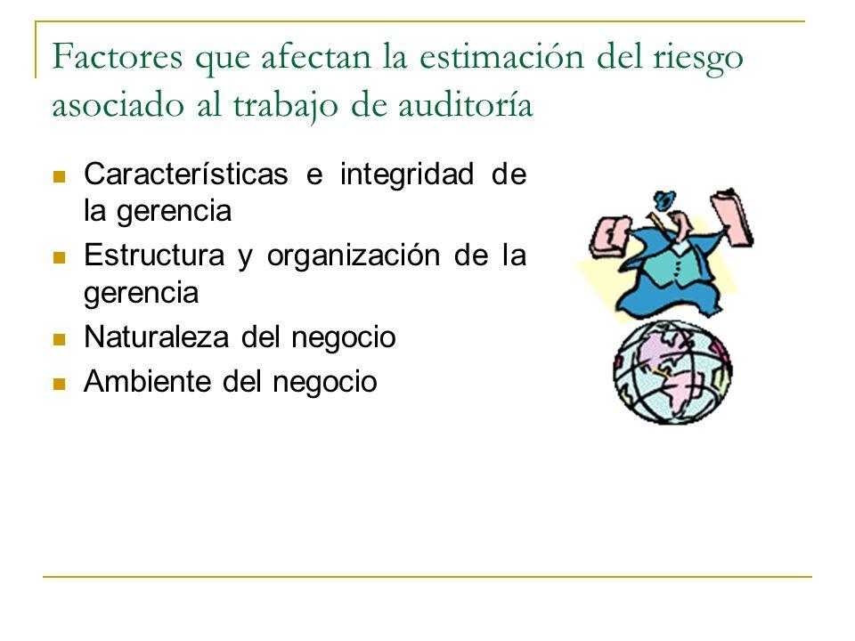 Factores que afectan la estimación del riesgo asociado al trabajo de auditoría Características e integridad de la gerencia Estructura y organización d