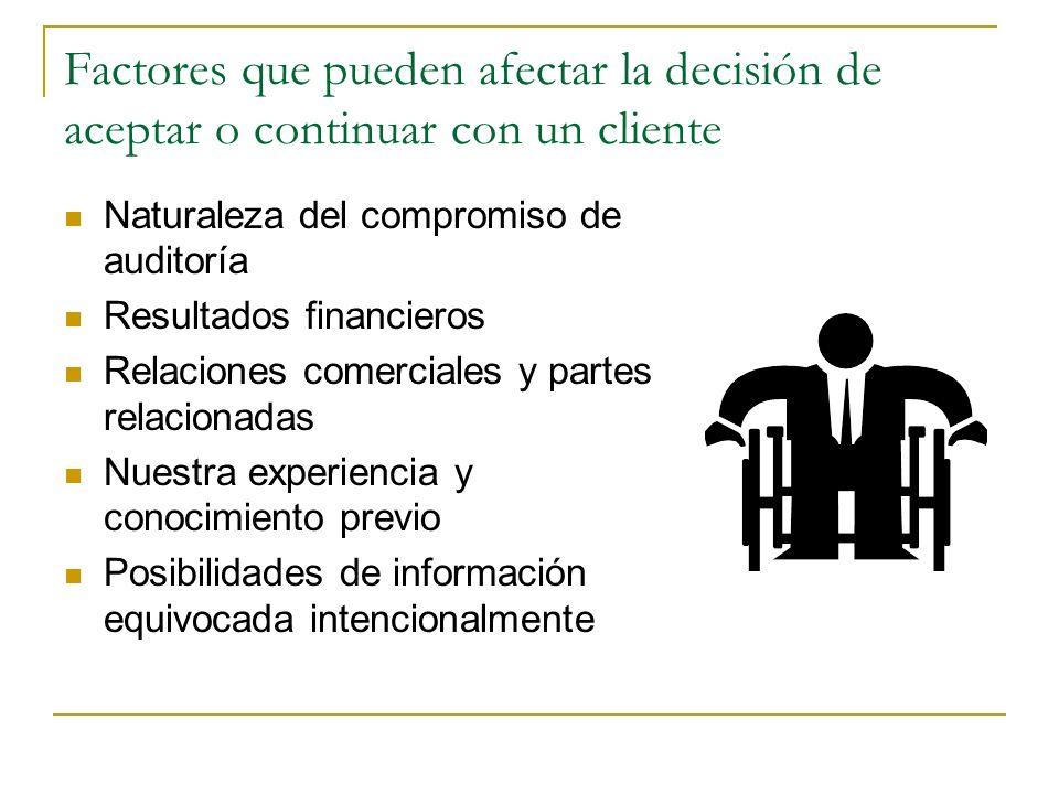 Factores que pueden afectar la decisión de aceptar o continuar con un cliente Naturaleza del compromiso de auditoría Resultados financieros Relaciones
