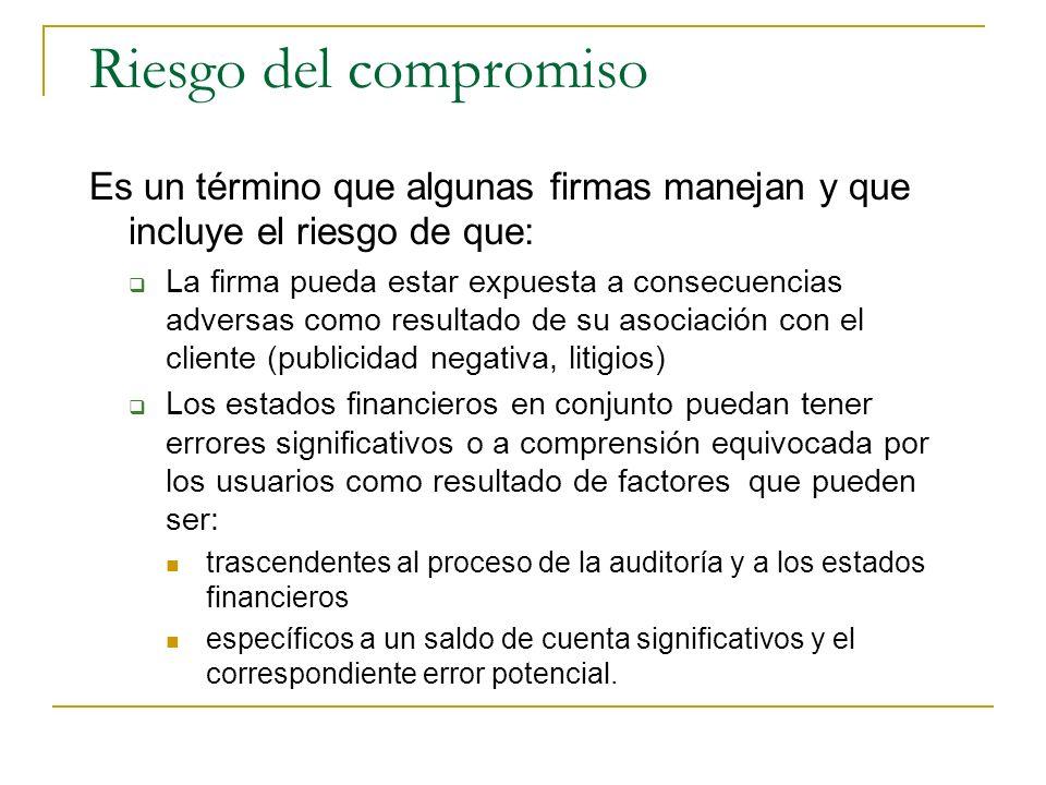 Riesgo del compromiso Es un término que algunas firmas manejan y que incluye el riesgo de que: La firma pueda estar expuesta a consecuencias adversas