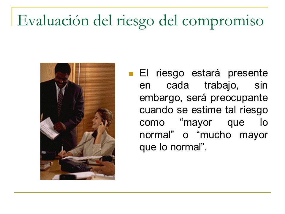 Evaluación del riesgo del compromiso El riesgo estará presente en cada trabajo, sin embargo, será preocupante cuando se estime tal riesgo como mayor q