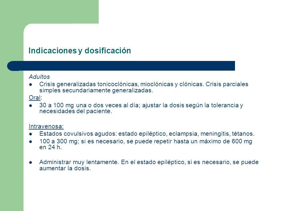 Indicaciones y dosificación Adultos Crisis generalizadas tonicoclónicas, mioclónicas y clónicas. Crisis parciales simples secundariamente generalizada