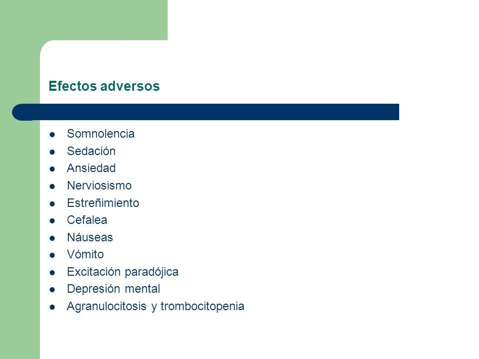 Efectos adversos Somnolencia Sedación Ansiedad Nerviosismo Estreñimiento Cefalea Náuseas Vómito Excitación paradójica Depresión mental Agranulocitosis