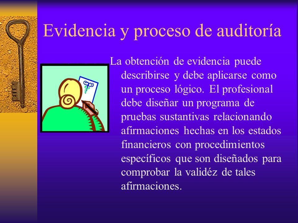 Evidencia y proceso de auditoría La obtención de evidencia puede describirse y debe aplicarse como un proceso lógico.