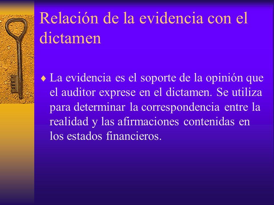 Relación de la evidencia con el dictamen La evidencia es el soporte de la opinión que el auditor exprese en el dictamen.