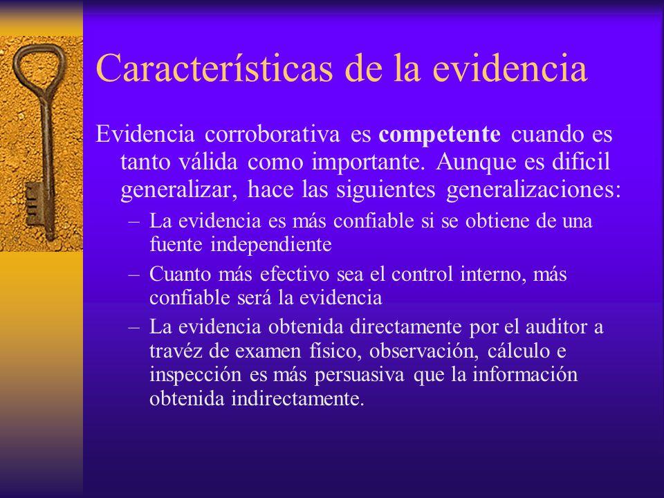 Características de la evidencia Evidencia corroborativa es competente cuando es tanto válida como importante.