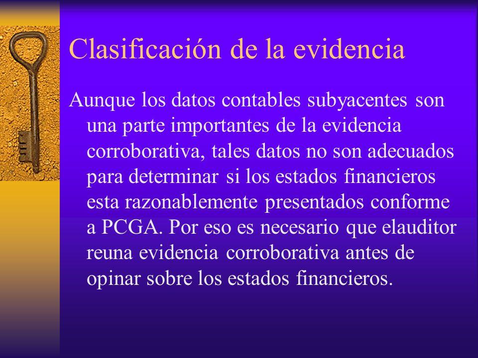 Clasificación de la evidencia Aunque los datos contables subyacentes son una parte importantes de la evidencia corroborativa, tales datos no son adecuados para determinar si los estados financieros esta razonablemente presentados conforme a PCGA.