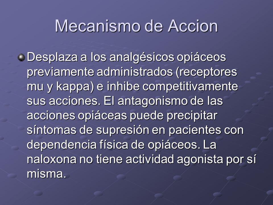 Mecanismo de Accion Desplaza a los analgésicos opiáceos previamente administrados (receptores mu y kappa) e inhibe competitivamente sus acciones. El a
