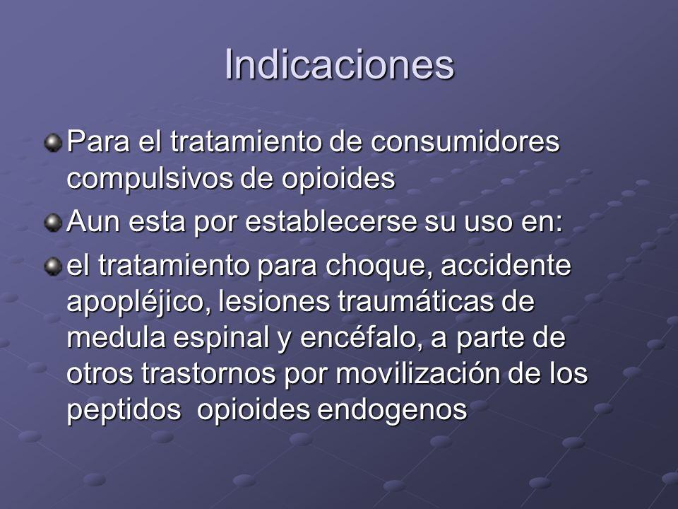 Indicaciones Para el tratamiento de consumidores compulsivos de opioides Aun esta por establecerse su uso en: el tratamiento para choque, accidente ap