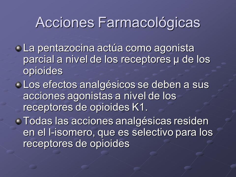 Acciones Farmacológicas La pentazocina actúa como agonista parcial a nivel de los receptores µ de los opioides Los efectos analgésicos se deben a sus