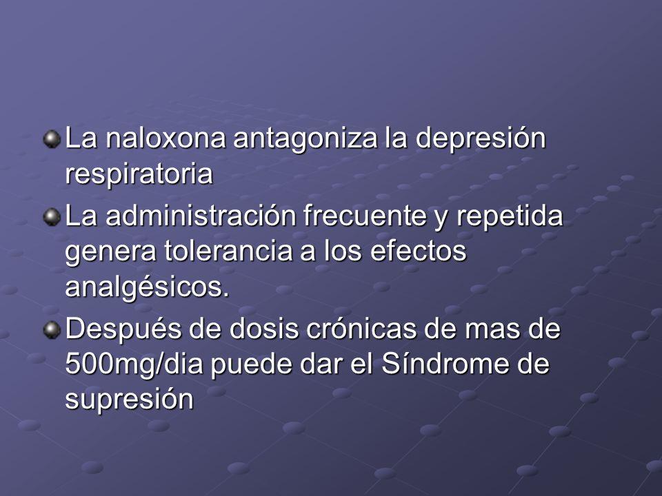 La naloxona antagoniza la depresión respiratoria La administración frecuente y repetida genera tolerancia a los efectos analgésicos. Después de dosis