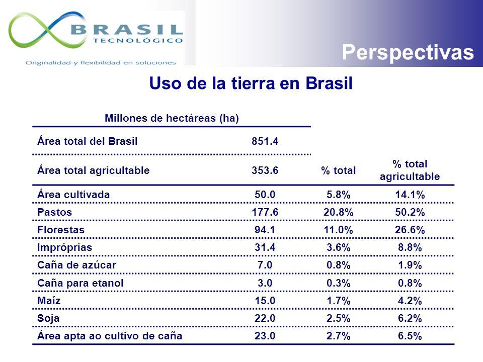 Floresta Amazónica Pantanal Mata Atlántica Áreas de Producción de Caña Source: IBGE e CTC Áreas Productoras de Caña de Azúcar en el Brasil PERSPECTIVA