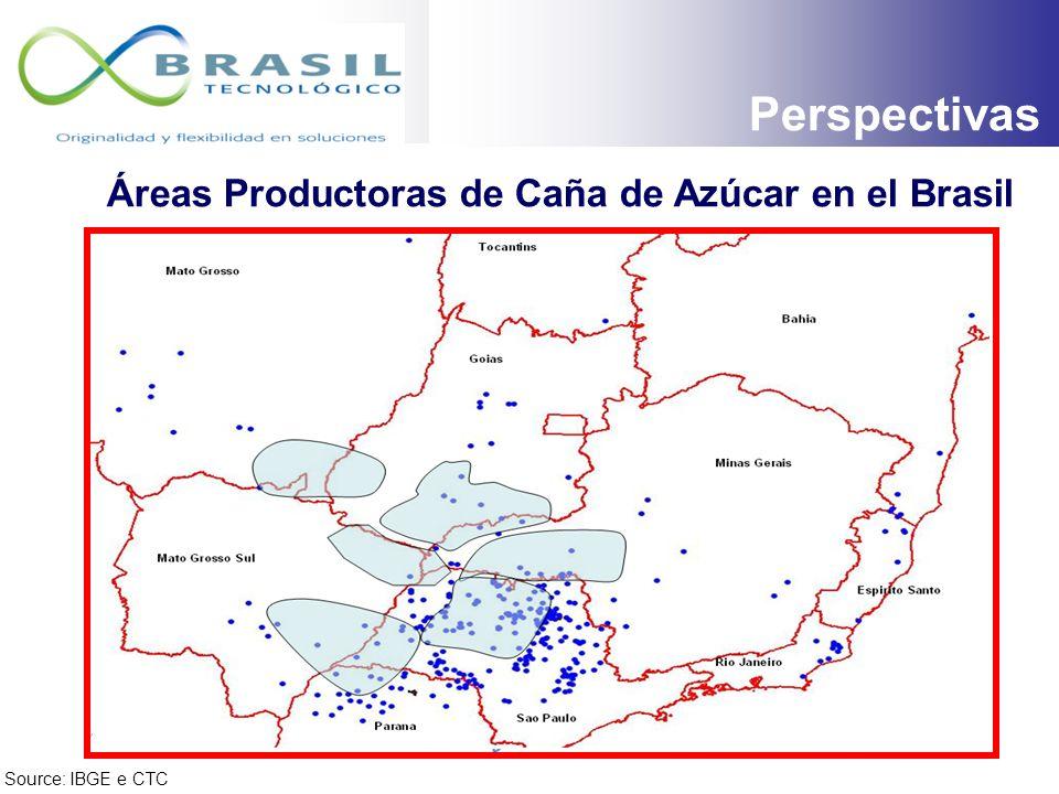 Source: IBGE e CTC Áreas Productoras de Caña de Azúcar en el Brasil PERSPECTIVAS Floresta Amazónica Pantanal Mata Atlántica Áreas de Producción de Cañ